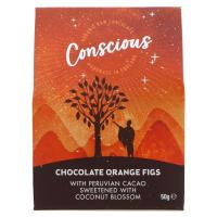 Picture of Conscious Chocolate Chocolate Orange Coated Figs - 50g